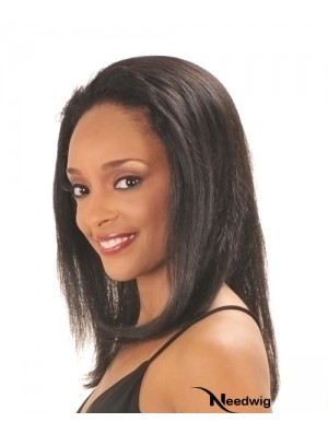 Capless Black Straight Long Indian Remy Human Hair Half Wig
