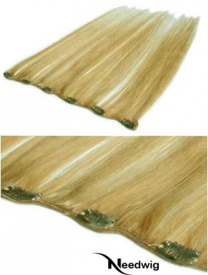 Flexibility Blonde Straight Remy Human Hair Clip In Hair Extensions
