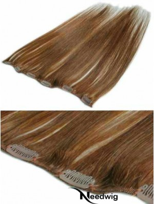 Comfortable Brown Straight Remy Human Hair Clip In Hair Extensions