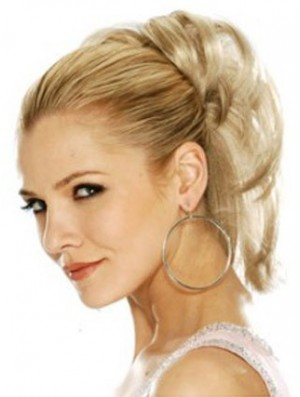 Hairpieces Clip In Blonde Color Straight Style With Synthetic
