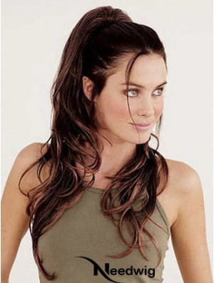 Clip In Ponytail Wavy Style Auburn Color Long Length