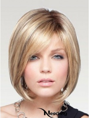 Bob Wigs Remy Human Monofilament Chin Length Blonde Color Straight Style