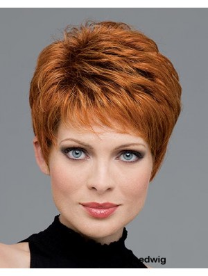 Human Hair Wigs With Capless Wavy Style Auburn Color
