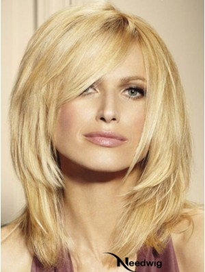 100% Human Hair Wigs Blonde Color Shoulder Length Layered Cut