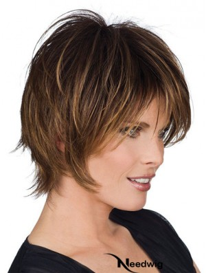 Real Human Hair Wigs With Capless Layered Cut Short Length