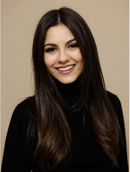 Remy Straight Human Hair With Lace Front Long Length Brown Color