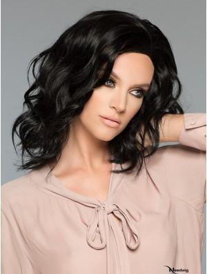 Black Layered Wavy 14 inch Real Human Hair