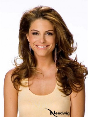Human Hair With Lace Front Wavy Style Brown Color