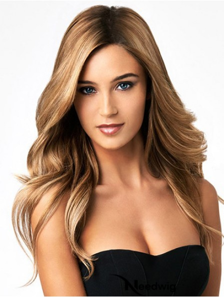 Human Hair Full Lace Wigs Long Length Wavy Style Blonde Color