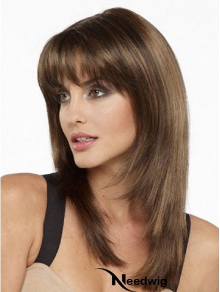 Best Real Silky Straight Human Hair With Bangs Capless Shoulder Length