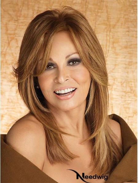 Smart Lace Monofilament Wigs With Bangs Wavy Style Long Length