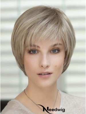 100% Hand Tied Short Straight Classic Blonde Real Hair Wigs