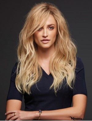 Remy Human 100% Hand Tied Blonde Wavy Human Hair Monofilament Topper