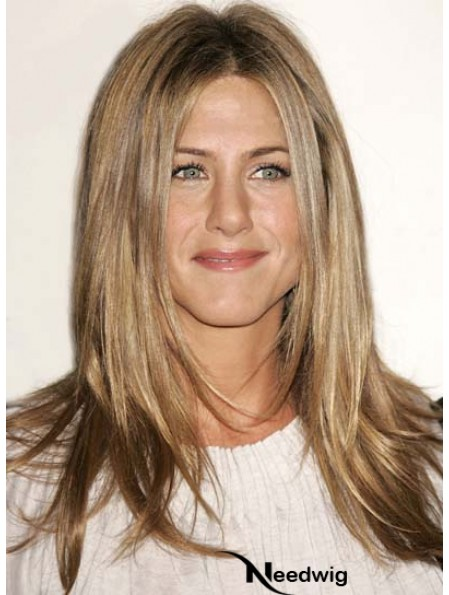 Remy Human Lace Front Blonde Straight Layered Jennifer Aniston Wig