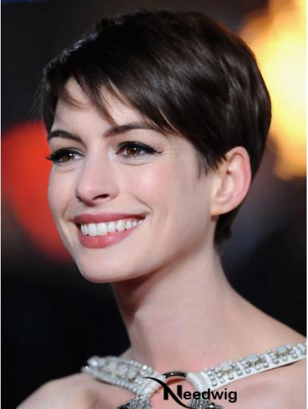 Remy Human Boycuts Lace Front Cropped Brown Anne Hathaway Wigs