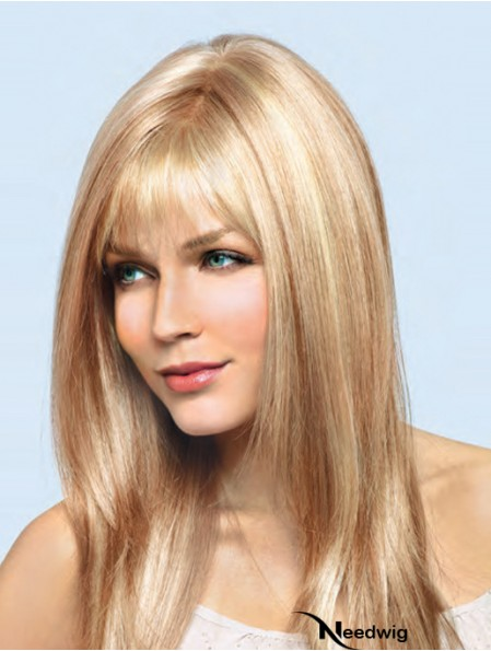 16 inch Blonde Remy Human Straight With Bangs Hand Tied Lace Wigs