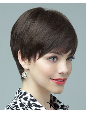 Human Wig 100% Hand Tied Layered Cut Short Length Brown Color