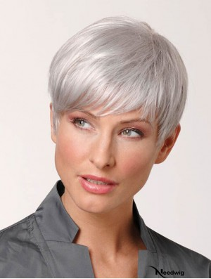 Grey Hair Wigs Short 100% Hand Tied Cropped Length Straight Style