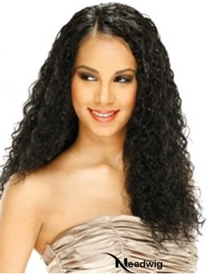 Human Hair Lace Front Wig Curly Style Long Length Black Color