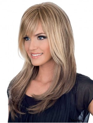 Natural Human Hair Medium Brown Straight Style Long Length With Bangs