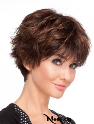 Auburn Straight Short Boycuts 100% Hand-tied Cheap Wigs Online