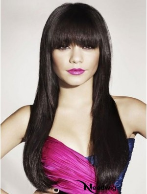 Black Human Hair With Bangs Long Length Straight Style