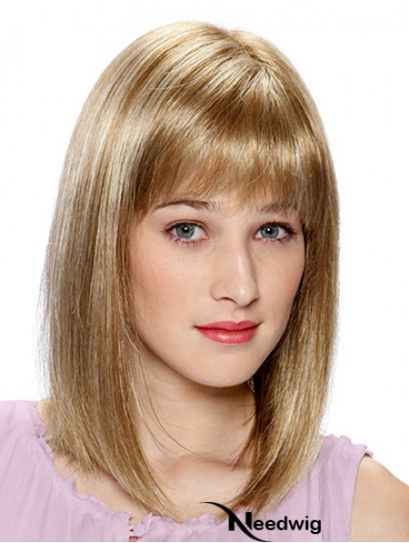 Lace Front Human Hair Wigs Blonde Color Shoulder Length With Bangs