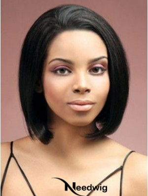 Lace Front Chin Length Yaki Black Stylish Bob Wigs