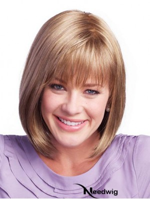 Chin Length Brown Sassy 11 inch Straight Bob Wigs