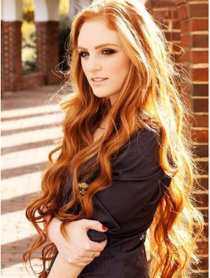 Human Hair Long Wavy Wigs 100% Hand Tied Wavy Style Long Length