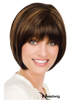 Chin Length Brown Designed 10 inch Straight Bob Wigs