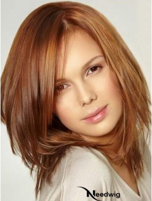 Monofilament Large Wigs With Lace Front Shoulder Length Auburn Color