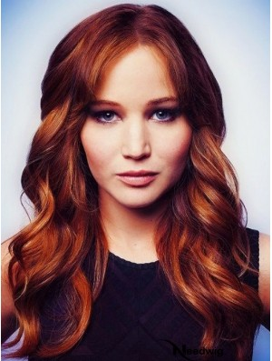 100% Human Hair Jennifer Lawrence Wigs With Capless Wavy Style Long Length
