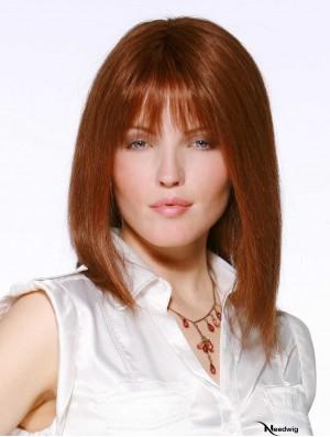 Monofilament Wigs UK Cheap With Bangs Lace Front Auburn Color