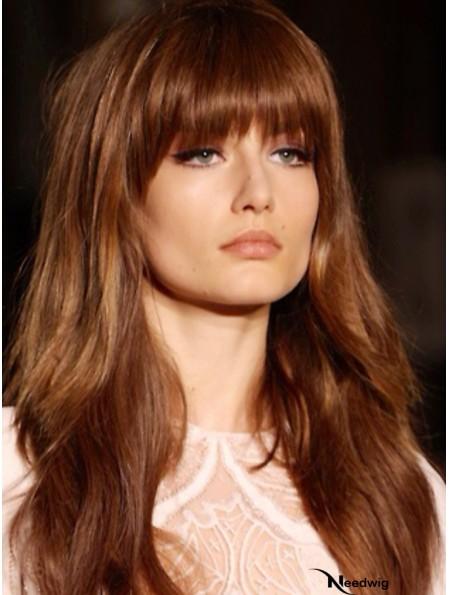 With Bangs Long Copper Wavy 20 inch Beautiful Human Hair Wigs