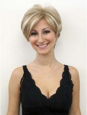 Blonde Human Wigs With Lace Front Wavy Style Short Length