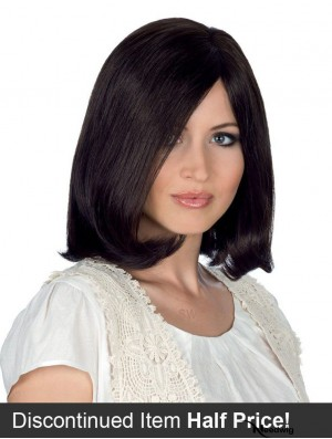 100% Hand Tied Black Shoulder Straight Monofilament Remy Hair Wigs