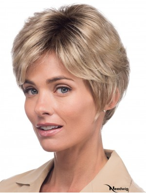 Monofilament Straight With Bangs Short 8 inch Great Human Hair Wigs