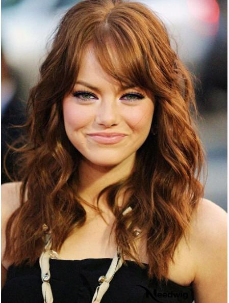 With Bangs Long Copper Wavy 18 inch Beautiful Human Hair Emma Stone Wigs