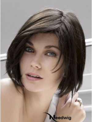 Lace Front Chin Length Straight Black Popular Bob Wigs