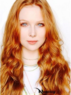 Without Bangs Long Copper Wavy 22 inch Suitable Human Hair Molly Quinn Wigs