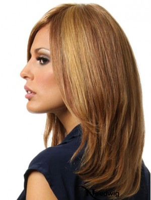 Cheap Full Lace Human Hair Wigs UK Brown Color Shoulder Length