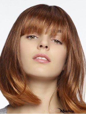 100% Hand-tied Straight With Bangs Shoulder Length 12 inch Online Human Hair Wigs