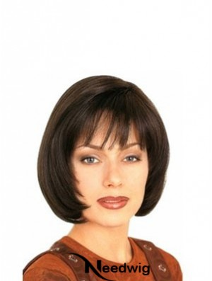 With Bangs Durable Straight Brown Chin Length Human Hair Wigs