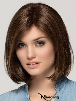 Remy Human Hair Monofilament Brown 11 inch Bob Wig
