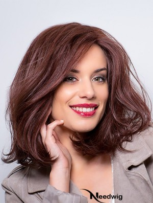 Monofilament Wavy Layered 12 inch Auburn Shoulder Length Human Wig