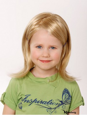 100% Hand-tied 12 inch Straight Shoulder Length Without Bangs Blonde Remy Human Hair Wigs For Kids
