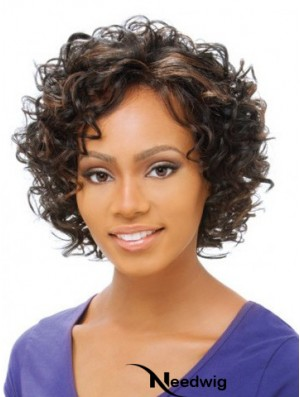 Curly Wigs African American With Lace Front Short Length Brown Color