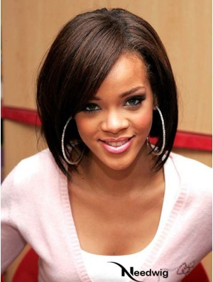 Lace Front Rihanna Wig Chin Length Brown Color Bobs Cut