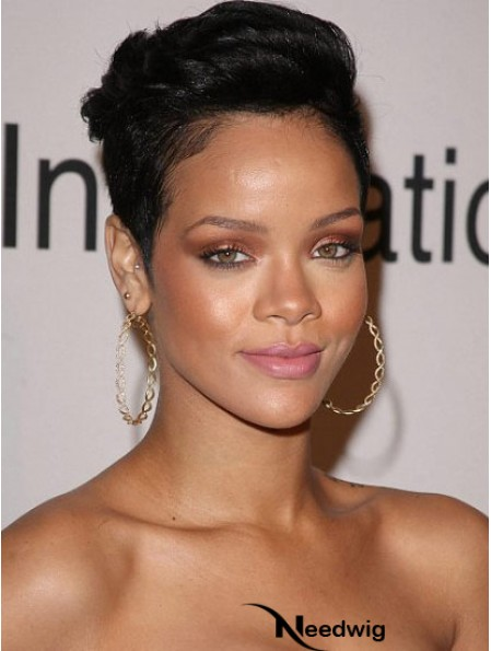 Indian Remy Lace Front Boycuts Straight Black Cropped Rihanna Wigs UK